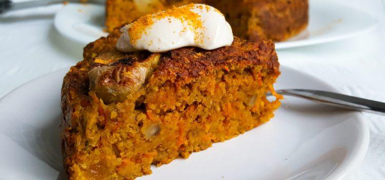 Kurkuma ontbijttaart met wortel en abrikozen
