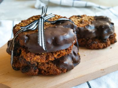 Havermout chocolade koekjes met tahin & pumpkin spice