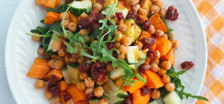 Pompoen & zoeteaardappel salade