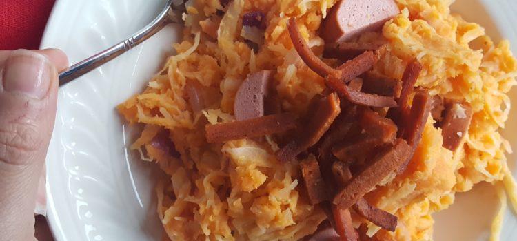 Zuurkool stamppot met zoete aardappel